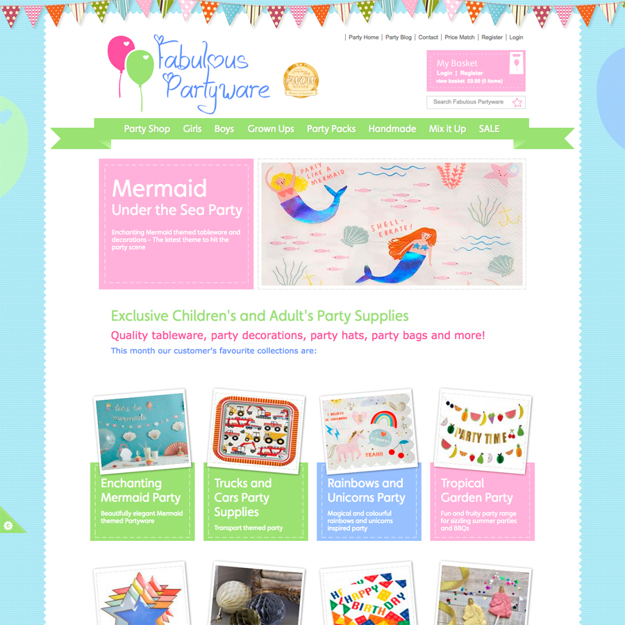 Fabulous Partyware Ecommerce website developers Oxford, Clear & Creative Oxford